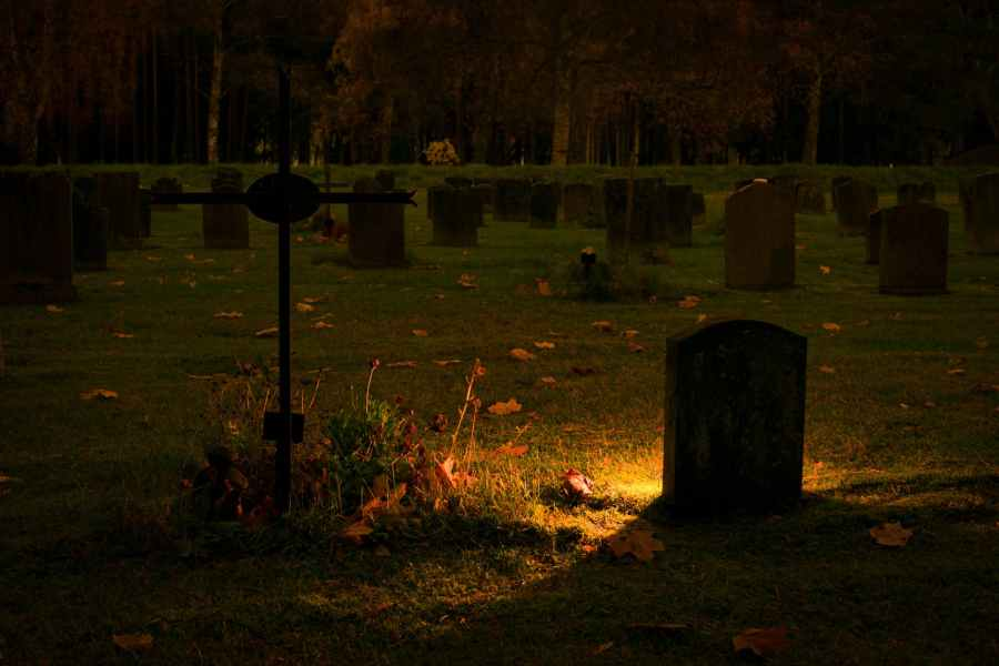 silhouette of graves